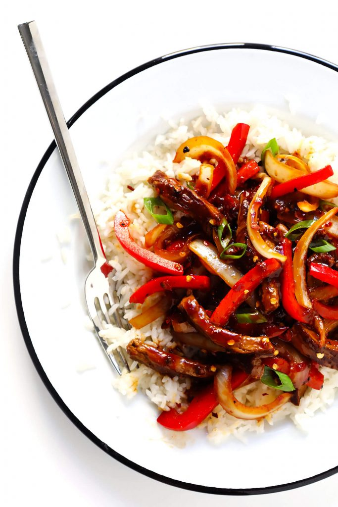 Red pepper stirfry with tofu or chicken