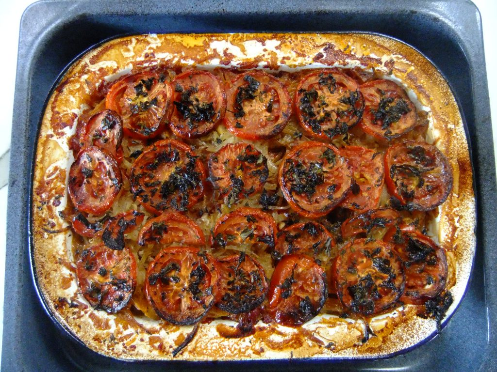 Ikarian butter bean and tomato bake
