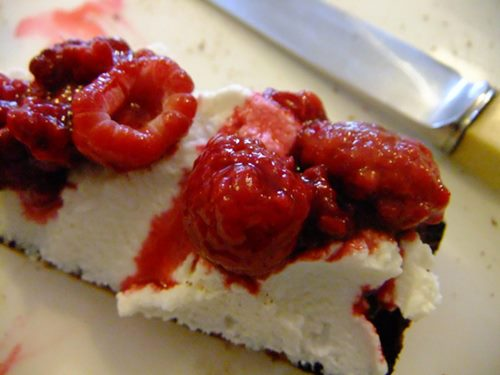 Simple raspberry or strawberry ricotta toast