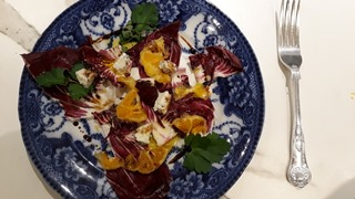 Bitter and sweet radicchio, orange and blue cheese salad